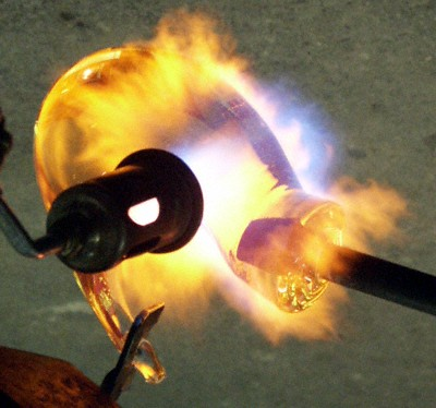 Glass Blowing Flaming Glass
