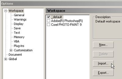 Workspace options menu in Corel PHOTO-PAINT. The options allow users to customize PHOTO-PAINT to user preference.
