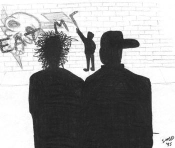 A couple of gangsters come apon a street urchin marking graffitti over their graffiti.