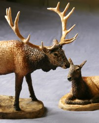 elk bull and cow sculptures